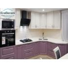 Классический кухонный гарнитур пастельно фиолетовый с белым 2850 х 1700